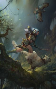 """The last pinner said: """"Hunting party by *KJK-art"""" --- Awe yeah! Kitty companion. XD"""