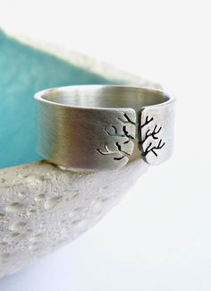 Autumn tree ring Sterling silver ring sanded wide band