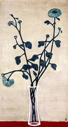 art-centric:  Sanyu (1901-1966) - 1940s Blue Chrysanthemums in a Glass Vase (Christie's Hong Kong, 2012)