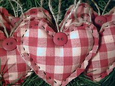HANDMADE PRIMITIVE RUSTIC COUNTRY RED CHECKED HEARTS CHRISTMAS ORNAMENTS