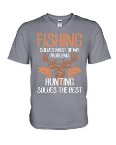 Fishing Solves Of My Problems Hunting T-Shirt - Asphalt #firerescue #geek #hair fishing gear, custom fishing rod, fishing rod carrier, back to school, aesthetic wallpaper, y2k fashion Fishing Rod Carrier, Custom Fishing Rods, Fishing World, Hunting Shirts, Print Store, V Neck T Shirt, Back To School, Geek, Wallpaper