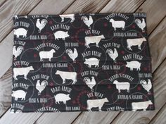 Farm fresh grey fabric placemats quilted placemats by 3Jenerations