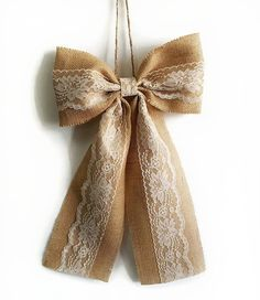 Pew Bows Burlap and Lace Bow Rustic Wedding by GrainyDayCreations