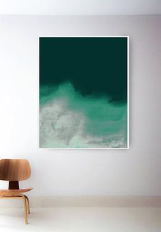 Grüne Welle Druck. Dunkel grün Art. Grüne Wand-Kunst. Grüner