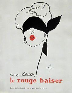 Le Rouge Baiser poster by Rene Gruau original