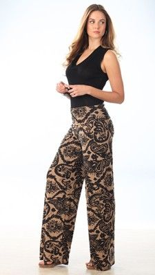 Palazzo Pants - While keeping our much-loved palazzo pant fit we have added a striking new print. The flat fold over waistband sits below the waist, with a flowing leg, a fantastic look on long legs.  #lelspring