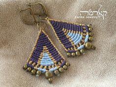 Purple Boho Macrame Earrings, Colorful Hand-Woven Triangle Jewelry, A Perfect Gift For Women Macrame Earrings, Macrame Jewelry, Boho Jewelry, Spiritual Jewelry, Earring Tutorial, Micro Macrame, Artisanal, Handmade Art, Gemstone Beads