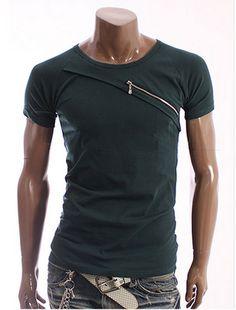 Crew neck with diagonal zipper (Euphoric Fashion)