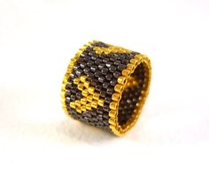 Beaded Heart Ring Black and Gold Delica Beaded by JewelleryByJora, $23.00