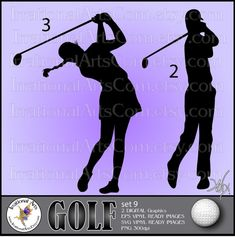 Golf Silhouettes set 9  Vinyl Ready Images 2 EPS by IrrationalArts