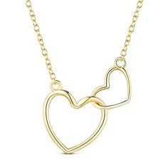 Classic 925 Sterling Silver Necklace, with Interlocking Hearts Pendant, 18K Gold Plated, 15.7""