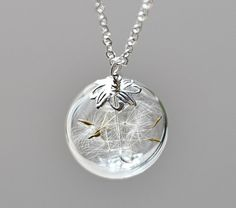 ??? Dandelion Necklace Silver Make A Wish Glass Bead Orb Dandelion Seed Transparent Round Beadwork Flower Botanical