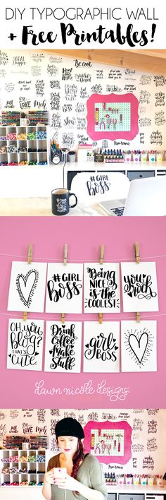 DIY Motivational Typographic Craft Room Wall + 6 Free Hand-Lettered Printables to get your own wall started. It's so easy and inexpensive to do!