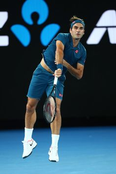 Day 1: Roger Federer of Switzerland serves his first round match against Denis Istomin of Uzbekistan during day one of the 2019 Australian Open at Melbourne Park on January 14, 2019 in Melbourne, Australia.