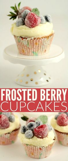 These Frosted Berry Cupcakes with an Orange Mascarpone Buttercream feature a fluffy orange cake topped with a luscious frosting, and sugared fruit. They are a beautiful cupcake full of bright flavours.
