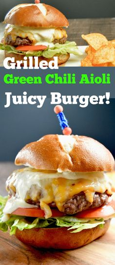 Topped w/ 3 pepper cheese and a slow heating, tangy green chili aoili give this Juicy Grilled Chili Aoili Cheeseburger something so easy for your next BBQ! via @westviamidwest
