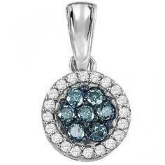 10K white gold white and blue diamond round cluster pendant