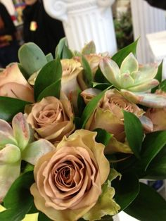 Succulents with Antique Roses. #Roses #Bridal #Wedding #BridalBouquet #Antique