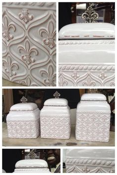 Fleurty Girl - Everything New Orleans - Fleur de Lis Canister Set, . Gorgeous glazed white canister set for your kitchen! New Kitchen, Kitchen Decor, Kitchen Design, Louisiana Homes, Kitchen Canisters, Canister Sets, Tuscan Style, Apartment Living, Home Kitchens