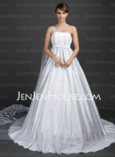 Wedding Dresses - $199.99 - A-Line/Princess One-Shoulder Watteau Train Satin Tulle Wedding Dresses With Lace (002015375) http://jenjenhouse.com/A-line-Princess-One-shoulder-Watteau-Train-Satin-Tulle-Wedding-Dresses-With-Lace-002015375-g15375