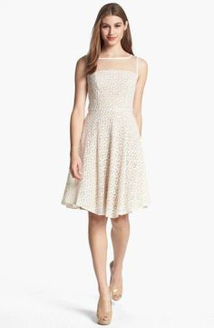 Adrianna Papell Dandy EMBROIDERED DAISIES SHEER Lace Fit & Flare Dress