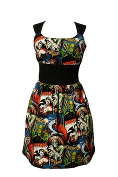 Inked Boutique - Riding Shotgun Horror Monsters Dress Frankenstein Dracula Mummy Universal Monsters Rockabilly Psychobilly Horrorbilly Clothing http://www.inkedboutique.com