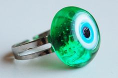 Evil Eye Lampwork Handmade Adjustable Size Ring by TheGrandBazaar,