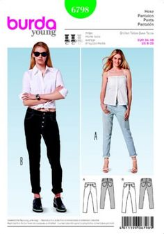BURDA 6798 Ladies Pants - Jeans in a really cool cut would be made of denim, possibly practicing distressing techniques.