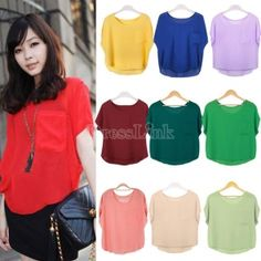 Ladies Chiffon Shirt Sheer Batwing Short Sleeve Loose Top
