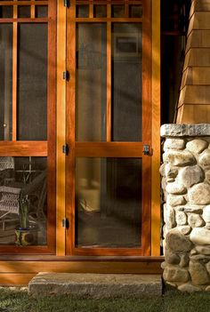 Craftsman Screened Porch Design, Pictures, Remodel, Decor and Ideas Craftsman Style Doors, Craftsman Porch, Back Porch Makeover, Screened Porch Designs, Screened Porches, Side Porch, Front Porch, Traditional Porch, Decks And Porches