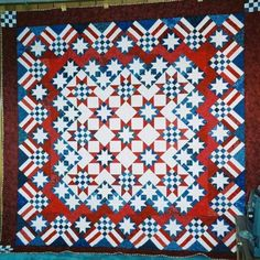 Stars 'n' Stripes Forever quilt made by Doris Coffey from the pattern in Knockout Blocks and Sampler Quilts by Judy Martin.