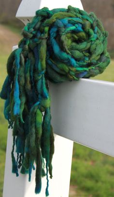Hand Knit Super Bulky Scarf in Bright Blue Green by bpenatzer, $89.00