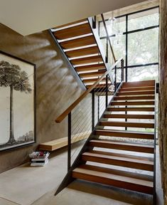 Stairway in Lilac Drive Residence by Marmol Radziner Staircase Bookshelf, Modern Staircase, Staircase Design, Architecture Details, Interior Architecture, Stair Railing, Railings, Interiors Magazine, Outdoor Living Areas