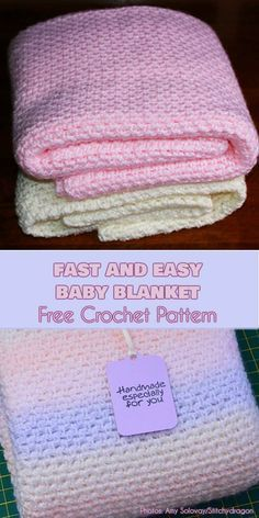 Easy Crochet Afghans Fast and Easy Baby Blanket Free Pattern Crochet Afghans, Motifs Afghans, Crochet Baby Blanket Free Pattern, Crochet Baby Blanket Beginner, Easy Baby Blanket, Free Crochet, Baby Afghans, Crocheted Baby Blankets, Crochet Newborn Blanket