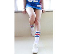 Womens Boot Socks Knee Scoks White and Red and Blue Striped Crossing Sports Scoks Dance Socks Cotton Socks Cool Scoks Short Socks No.1103
