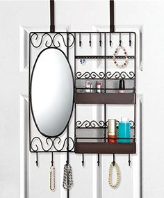 Home Basics Over The Door Vanity Scroll Jewelry And Cosmetic Organizer,  Bronze Home Basics Http