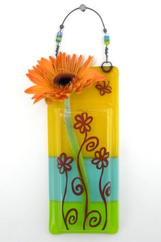 Hanging Bud Vase / Fused Glass Pocket Vase / by WoodAndGlass
