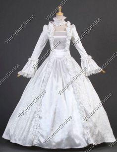 Victorian Gothic White Bridal Dress Wedding Gown Theatre Women Costume V  119 XL a1a0392762d5