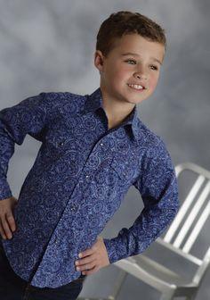 Roper® Boys Blue Vintage Circles Print Long Sleeve Snap Western Shirt
