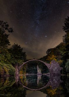 The Famous Rakotzbridge in East Germany at night...#Milkyway #architecture…