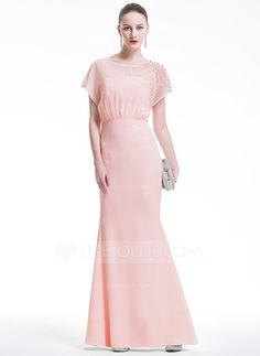 Trumpet/Mermaid Scoop Neck Floor-Length Chiffon Evening Dress With Lace (017075015)