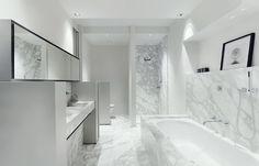 by Anne Derasse Cold Shower, Half Walls, Bathroom Toilets, Bathroom Interior Design, Guest Bath, Service Design, Interior Architecture, Bathtub, House