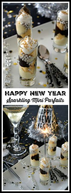 Sparkling Mini Parfaits! These no-bake party size dessert are easy to assemble with ready made cake from the grocery store. Make them as simple or as fancy as you like! #newyear #dessert