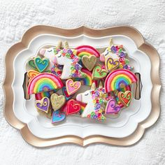 A dish of rainbow unicorn cookies