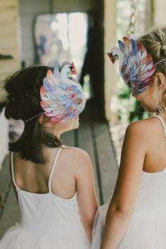 Lovely Little Girls with Swan Masks