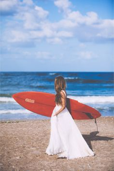 bride with surfboard