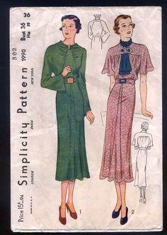 Simplicity 1990   1930s Misses' Dress