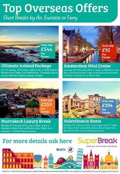 Fantastic Overseas offers from Iceland to Romantic Rome, always good prices with this operator call for latest availability 0800 975 7584