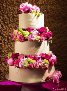 Tiers of Pink Flowers Wedding Cake