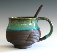 Coffee Mug with Ceramic Spoon, handmade ceramic cup, tea cup, coffee cup Ceramic Spoons, Ceramic Pottery, Coffee Cups, Tea Cups, Hipster Gifts, Ceramic Design, Tea Bowls, Fun At Work, Bar Ideas